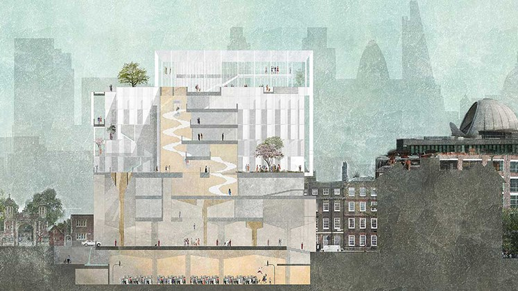 Illustration of a building with people inside | Supporting LSE | place and purpose